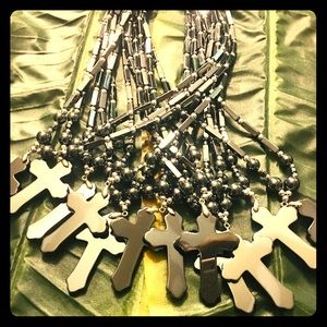 Jewelry - Hematite Cross Necklace w-Thick chain
